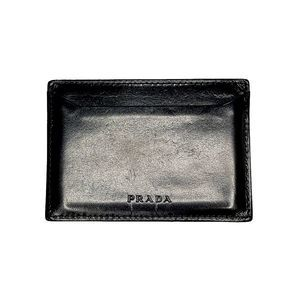 PRADA Vintage Black Smooth Leather Card Case